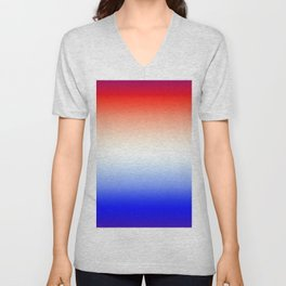 Red White and Blue Merging Gradient Pattern Unisex V-Neck