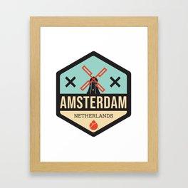 Amsterdam Windmill Badge XXX Framed Art Print
