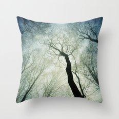bare treetops Throw Pillow