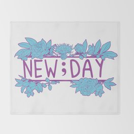 New;Day Purple and Cyan Throw Blanket