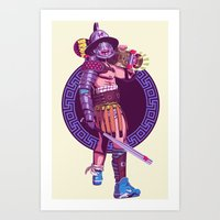 gladiator Art Prints featuring Street Warriors - Gladiator by Mike Wrobel