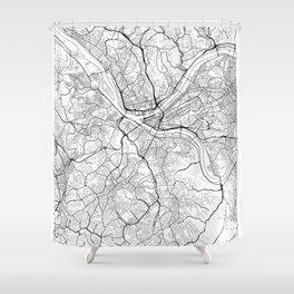 Pittsburgh Map White Shower Curtain