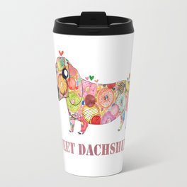 Sweet Dachshund, Watercolor Donut Pattern Illustration Travel Mug