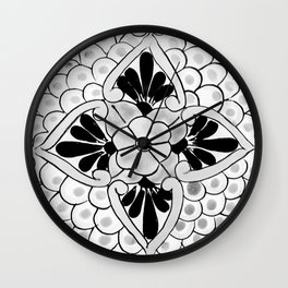 Black and White Talavera Nine Wall Clock
