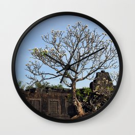 Khmer Temple Facade and Flowering Tree, Champasak, Laos Wall Clock