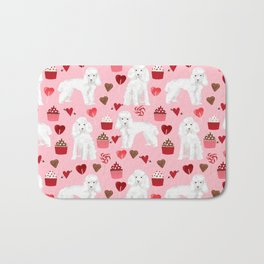 Toy poodle white poodles valentines day cupcakes love hearts dog breed pet portrait pattern gifts pe Bath Mat