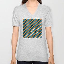 TEAM COLORS 1…Teal navy white and orange stripe Unisex V-Neck