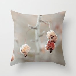 Frosty Crab Apples Throw Pillow