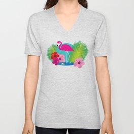 Pink flamingo tropic exotic Unisex V-Neck
