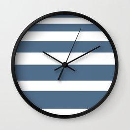 Gradient Stripe in Blue and White Minimalist Pattern Wall Clock