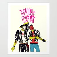 boneface Art Prints featuring Kids of Love and Hate by boneface