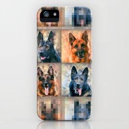 German Shepherd Dogs - GSD - Digital Art Collage iPhone Case