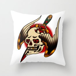 American Traditional Pierced Winged Skull Throw Pillow
