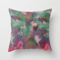 tie dye Throw Pillows featuring Pink Tie-dye by Marcelo Romero