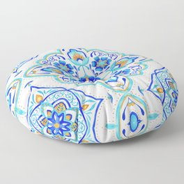 Hand Painted Moroccan Tiles - Aqua and Gold Floor Pillow