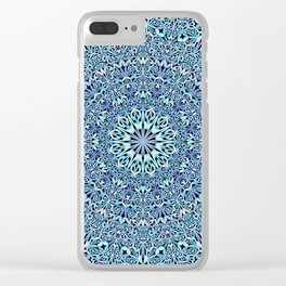 Light Blue Floral Life Mandala Clear iPhone Case