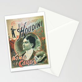 Houdini, king of cards, vintage poster Stationery Cards