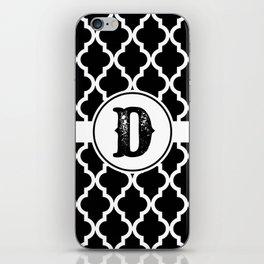 Black Monogram: Letter D iPhone Skin