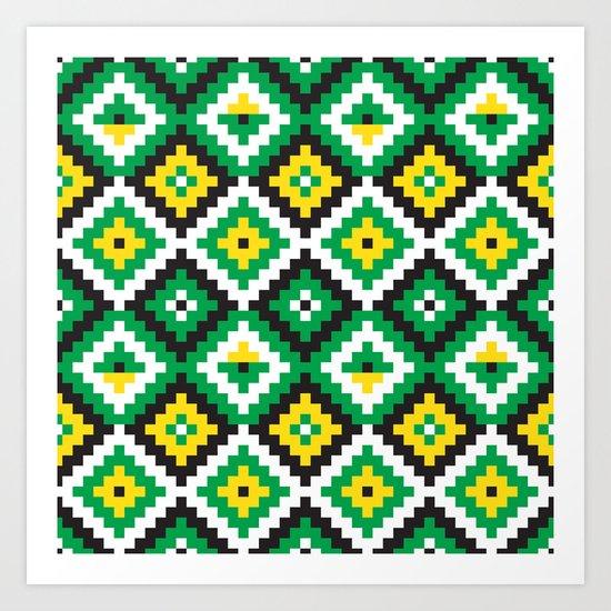 Aztec pattern - green, yellow, black, white Art Print