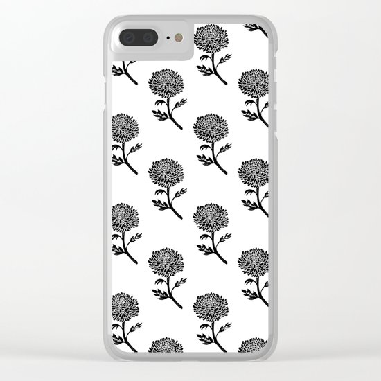 Linocut chrysanthemum floral flowers black and white scandi scandinavian Clear iPhone Case