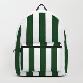 Large Forest Green and White Rustic Vertical Beach Stripes Backpack