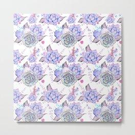 Modern pink lilac hand painted watercolor cactus flowers Metal Print