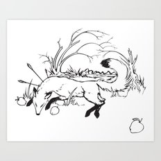 Dying Fox with Apples Art Print