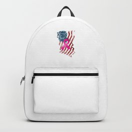 Breast Cancer Support Awareness American USA Flag Backpack
