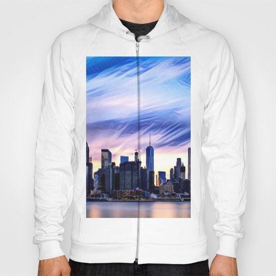Romantic City Cityscape with Light Sunset and River Hoody