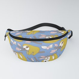 Sloth pattern in blue Fanny Pack