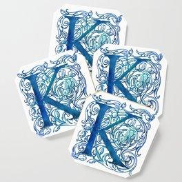 Letter K Antique Floral Letterpress Coaster