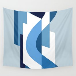 SUISSE - Art Deco Modern: BLUE MONDAY Wall Tapestry