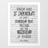 dumbledore Art Prints featuring Albus Dumbledore Quote Inspirational by Go Art