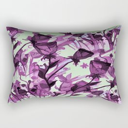 Painterly Graceful Flowing Flowers Rectangular Pillow
