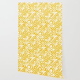Amber Yellow Geometric Print Wallpaper