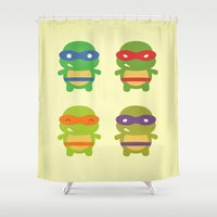 teenage mutant ninja turtles Shower Curtains featuring Teenage Mutant Ninja Kawaii Turtles by geraldbrio