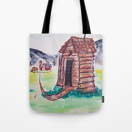 Outhouse, Primitive Art, Painting by Faye Tote Bag