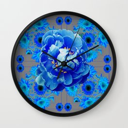 Baby Blue & Charcoal Grey Floral  Abstract Art Wall Clock