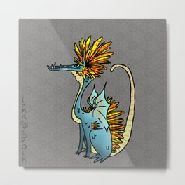 Afro Dragon Jam- Blue Metal Print
