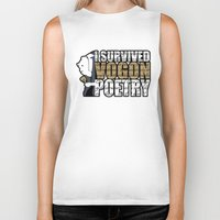 poetry Biker Tanks featuring Vogon Poetry by Ryan McCondach