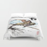 the last airbender Duvet Covers featuring Aang from Avatar the Last Airbender sumi/watercolor by mycks