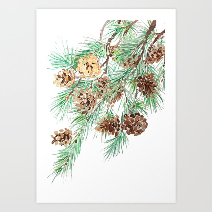 pine cones watercolor Art Print