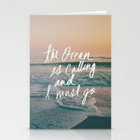leah flores Stationery Cards featuring The Ocean is Calling by Laura Ruth and Leah Flores by Leah Flores