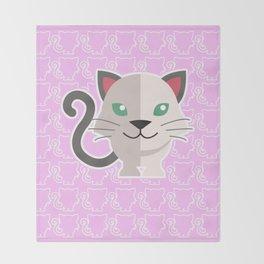 oneechan no shiro neko white cat kitten Throw Blanket