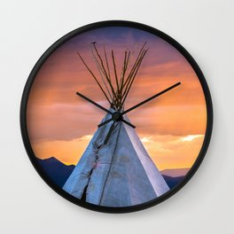 Southwest Teepee Sunset With Bird Wall Clock