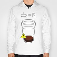 coffe Hoodies featuring Warning coffe low by Komrod