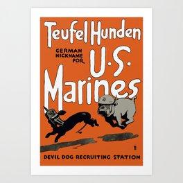 Devil Dog Recruiting Station - WWI Marine Corps Art Print