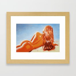 Lying nude in the sunlight Framed Art Print