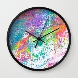 Rainbow Paint Splatter V2 Wall Clock