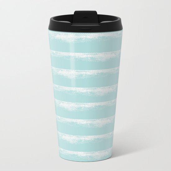 Irregular Stripes Mint Metal Travel Mug
